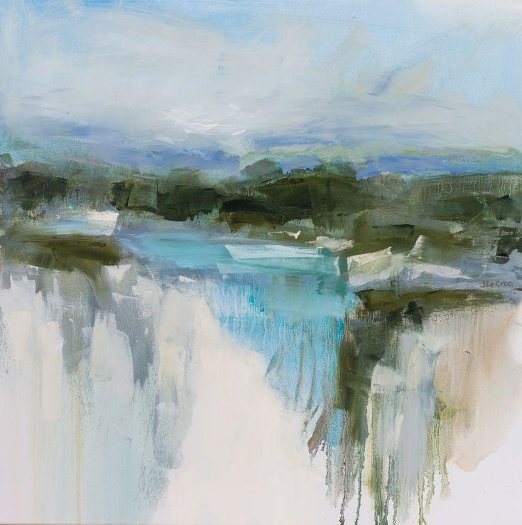 St Bathans Blue Oil on board Contemporary landscape Jennie DE Groot