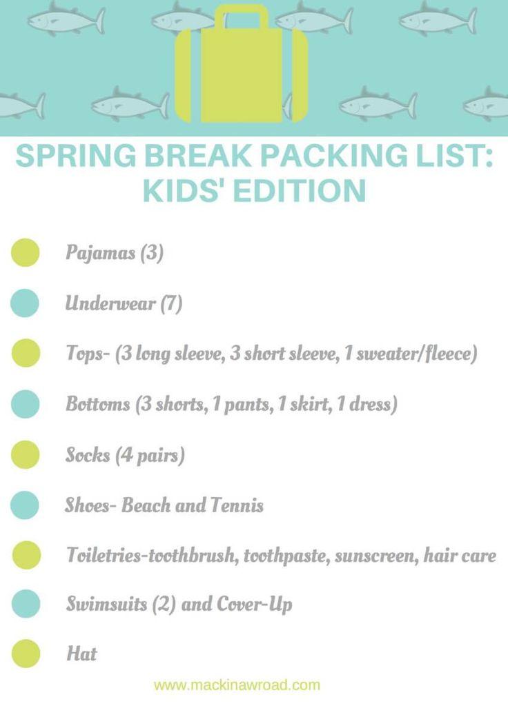 Kids Spring Break Packing Printable