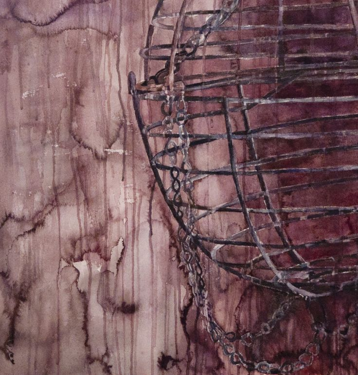 Amanda Robins, Empty Cage (detail) watercolour on Arches, 2015