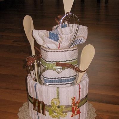 tea towel bridal shower cake