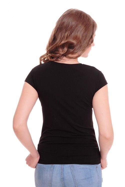 Футболка А6063 Размеры: 42-48 Цвет: черный Цена: 375 руб.  http://optom24.ru/futbolka-a6063/  #одежда #женщинам #футболки #оптом24