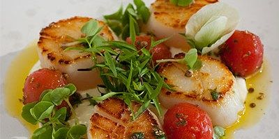 Try this Seared Sea Scallops With Lime Creme Fraiche And Sauce Vierge recipe by Chef Peter Gilmore.