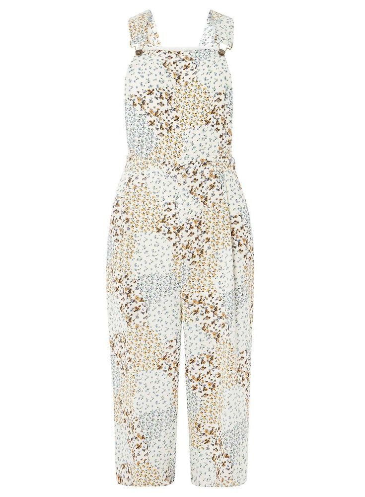 Womens Multi Coloured Ditsy Floral Culottes Jumpsuit- White