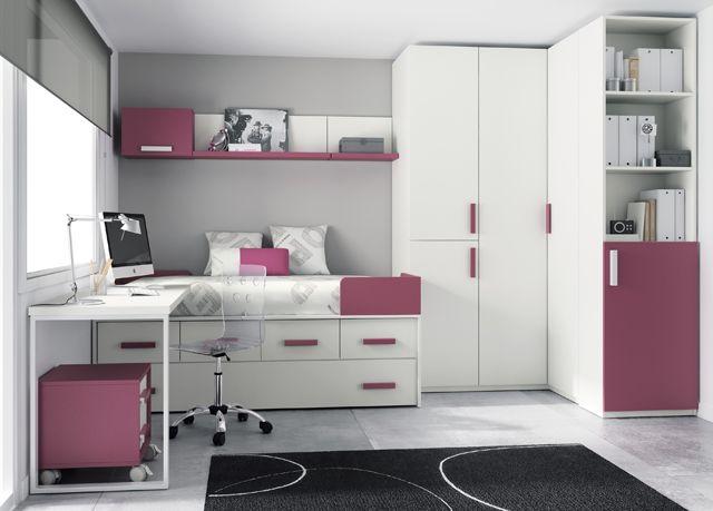 Kids touch 34 dormitorio juvenil juvenil camas compactas y for Cama nido escritorio incorporado