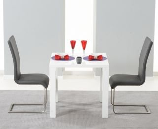 Hereford White High Gloss Dining Set - with 2 Grey Malibu Chairs