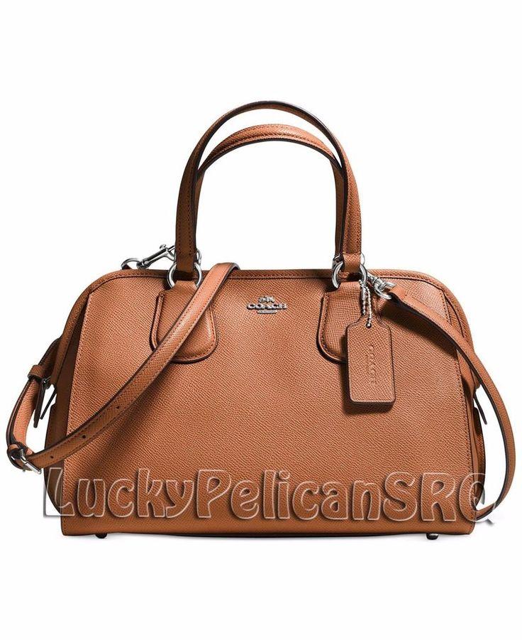 classic coach bags outlet q5ao  COACH 37138 NOLITA SATCHEL BAG CROSSGRAIN LEATHER Silver/Saddle Brown NWT