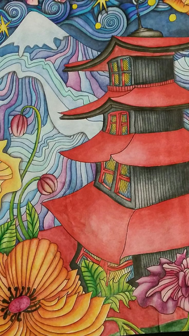 Watercolor pencils for adult coloring book - Close Up Of The Mount Fugi Page Of The Magical City Adult Coloring Book
