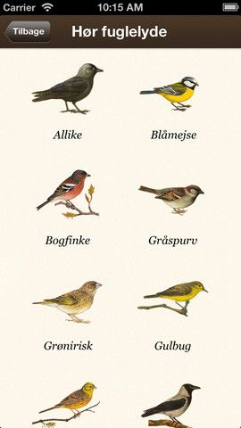 Havens fugle. Appen er en quiz, hvor du kal gætte hvilken fuglelyd det er du hører.