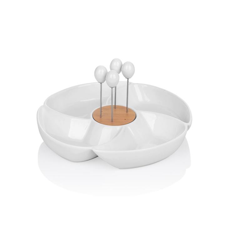Bernardo 4 bölmeli çatallı servis #porcelain
