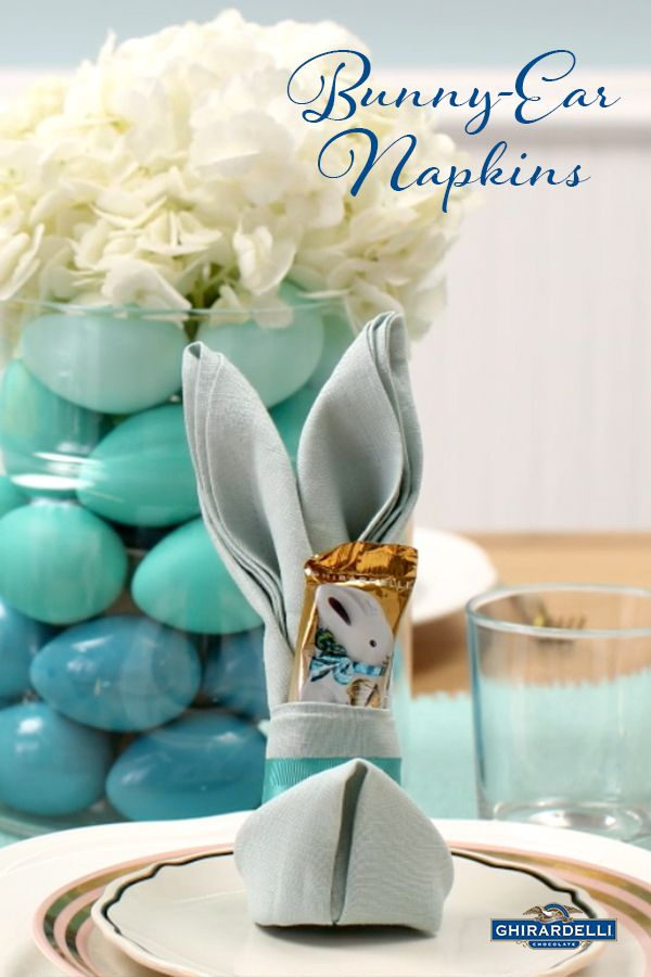 Slip a Ghirardelli Caramel Bunny into an elegantly-folded napkin for a festive Easter place-setting. Click for step-by-step instructions on how to fold & press simple napkins into Easter's most festive shape.