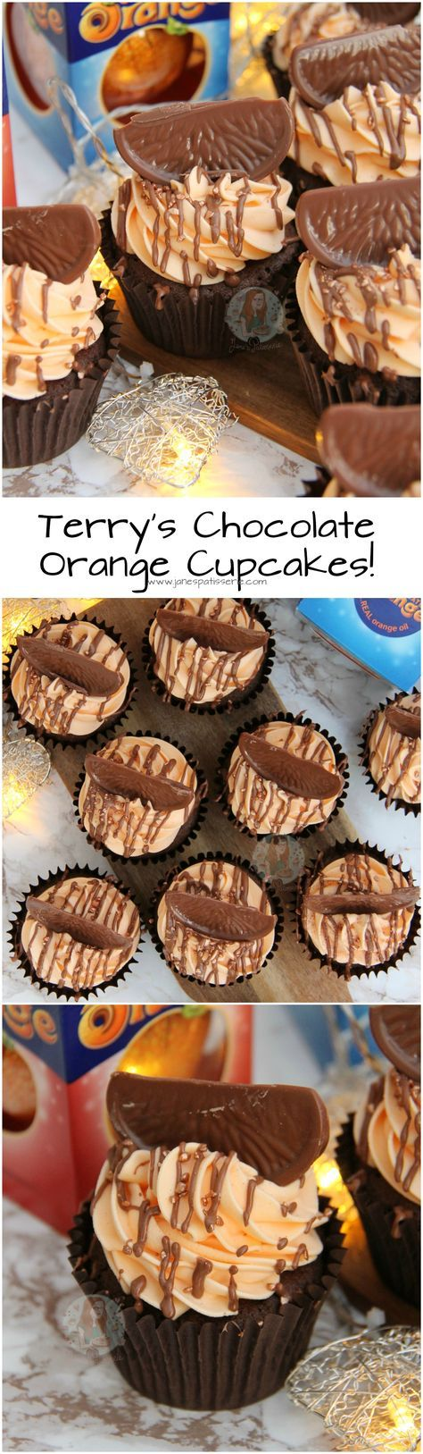 Terry's Chocolate Orange Cupcakes! ❤️ Chocolatey Cupcakes studded with Chunks of Terry's Chocolate Orange, topped with an Orange Buttercream, and even more Chocolate Orange!