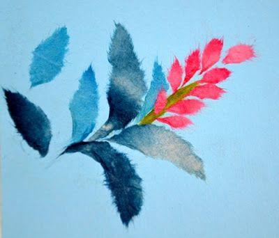 Chigiri-e japanese torn Paper Art flowers - chigirie
