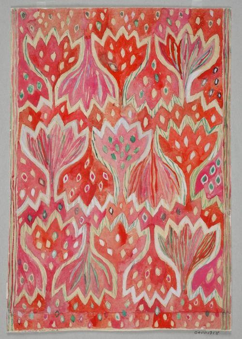 Ann-Mari Forsberg,Design for tapestry Röd Crokus, 1945, AB Märta Måås-Fjetterström / #pink #red