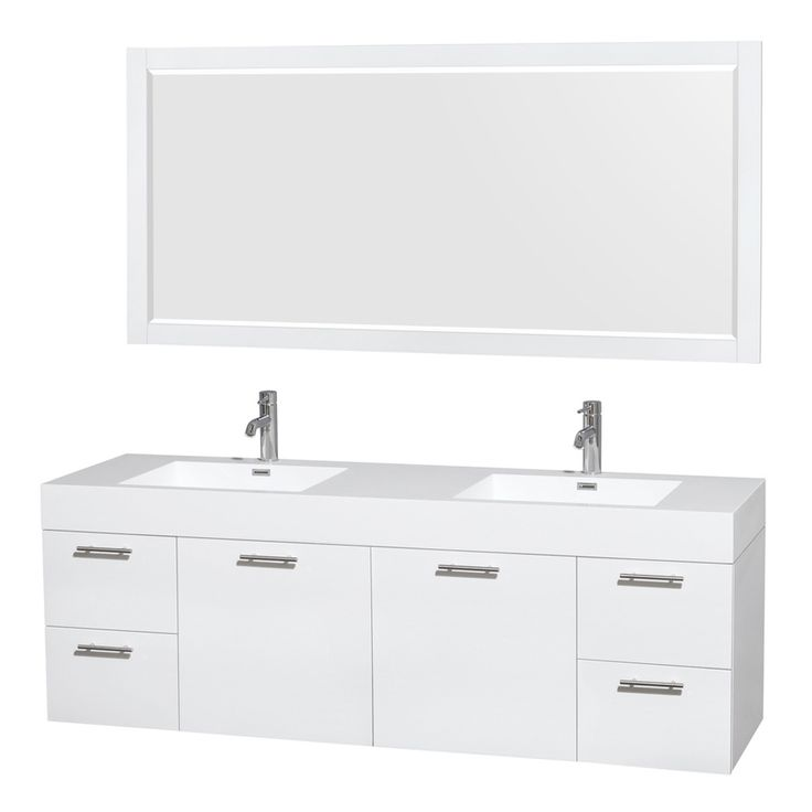 Shop Wyndham Collection Amare White Integral Double Sink Bathroom Vanity With Solid Surface Top