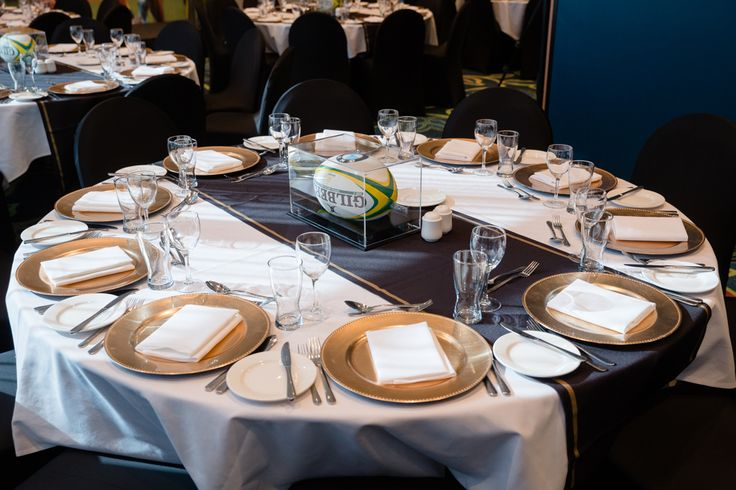 Sporting Event Table Set Up. Australian Wallbies Rugby. Gold and Black by Moreton Hire Australia