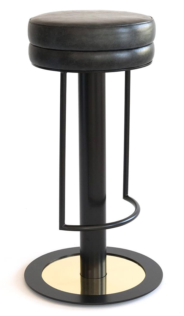 Barstool With Separate Footrest And Round Base Complete With Brass Detail H 75 Dia 32 Price Guide Please Click Here To Contact U Stool Bar Stools Foot Rest