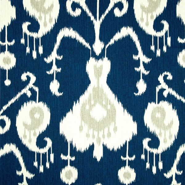 This is a beautiful dark blue ,taupe and natural Ikat cotton, made in the USA, medium weight drapery fabric print,suitable for any decor in the home or officeby Magnolia.v131TEF