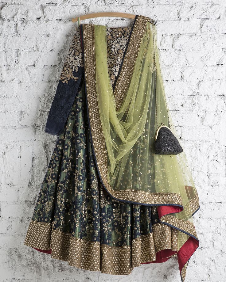 SwatiManish : Persian Blue & Olive Lehenga