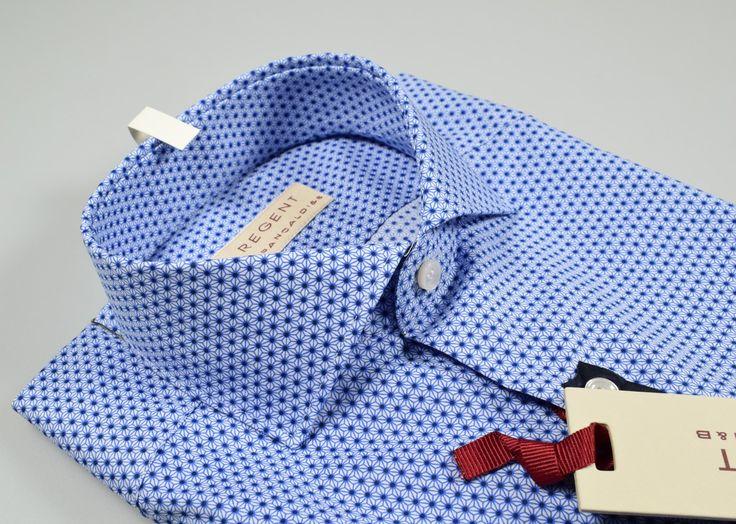 Blue print slim fit spread collar shirt pancaldi