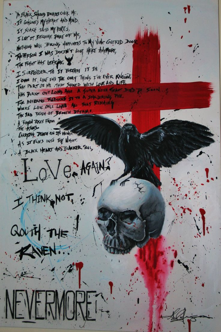 """""""Nevermore Trash Polka"""" had to make a few changes this morning. After I woke up I found a few spelling errors. I fixed them. It's hanging on the wall with all other nevermore paintings. Maybe someday I'll sell them I've had offers. They're too deep to part with just yet. Peace and love everyone."""