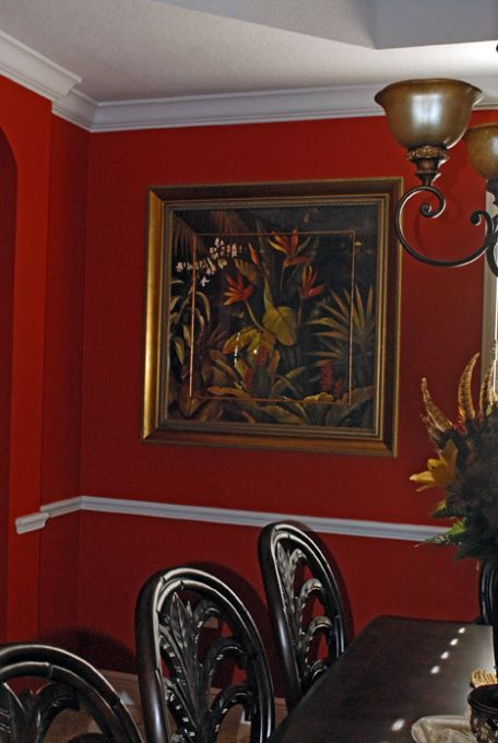 West indies tropical decorating red hot tropical for Dining room decorating ideas red