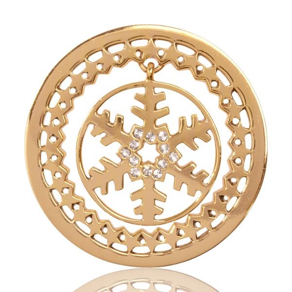 C1288GM - 'Golden Snowflake dangle', gold plated and 33 mm