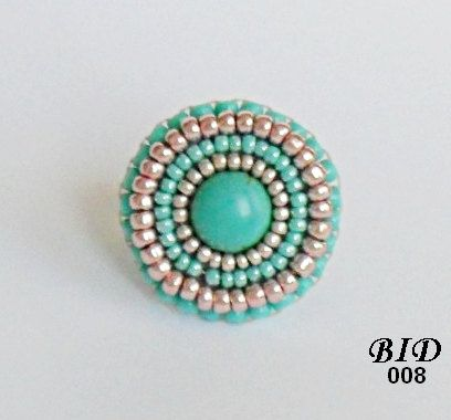 Bead Embroidery Ring,  Turquoise  Ring, Silver Ring, Peach Ring, Adjustable  Beaded Jewel