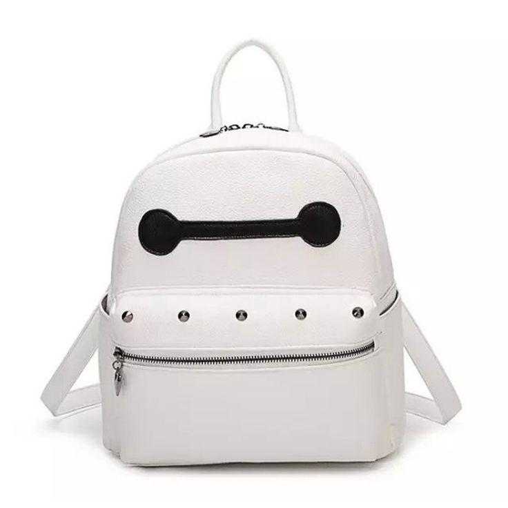 Mochilas moda para adolescentes bolso de escuela de cuero Baymax gran tamaño pequeño mujeres pu mochila de cuero blanco en Mochilas de Equipaje y bolsas en AliExpress.com | Alibaba Group