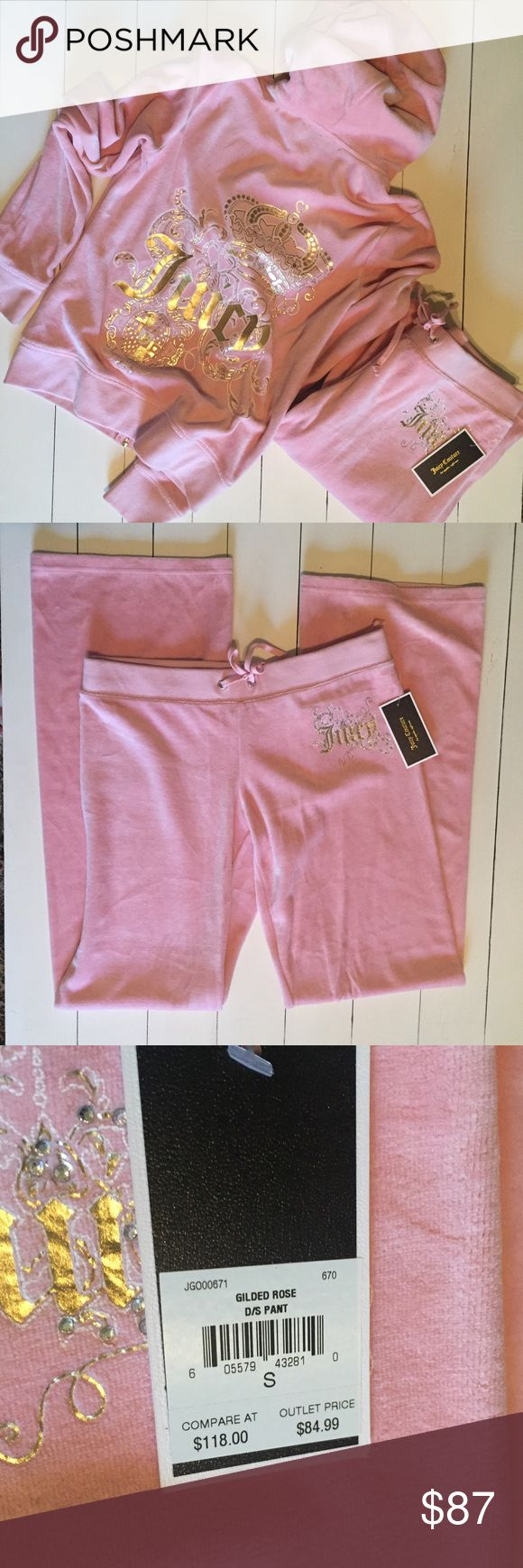 Pink Juicy Couture Track Suit Size S Pants are brand new with tags, jacket has only been worn a few times. Great Condition Juicy Couture Pants Track Pants & Joggers