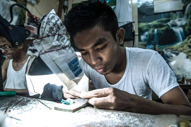 This guy is one of the many craftsmen that works in the Bogyoke Market. He shapes small pieces of wax to use them as a cast for different silver items.  Wax Craftsman - #Yangon, #Myanmar