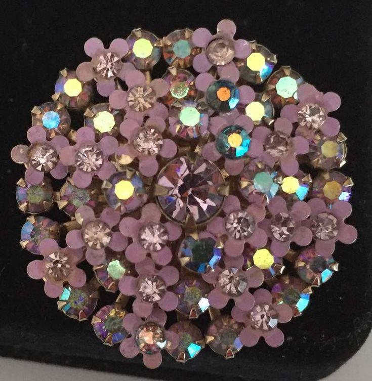 Vintage Brooch Pin SIGNED WEISS Purple Enamel Flower Rhinestone Jewelry lot k | eBay
