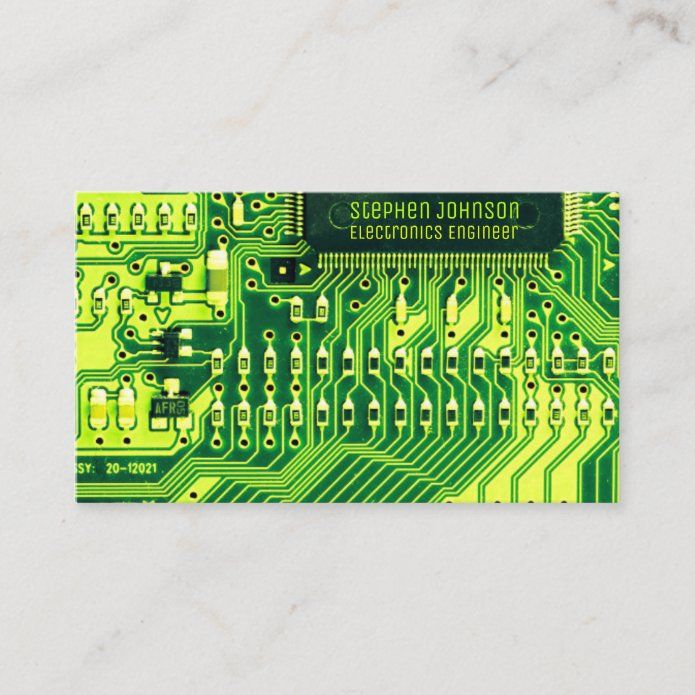 Green Pcb Board Circuit Electronics Engineer Business Card Zazzle Com Electronic Engineering Cool Business Cards Pcb Board