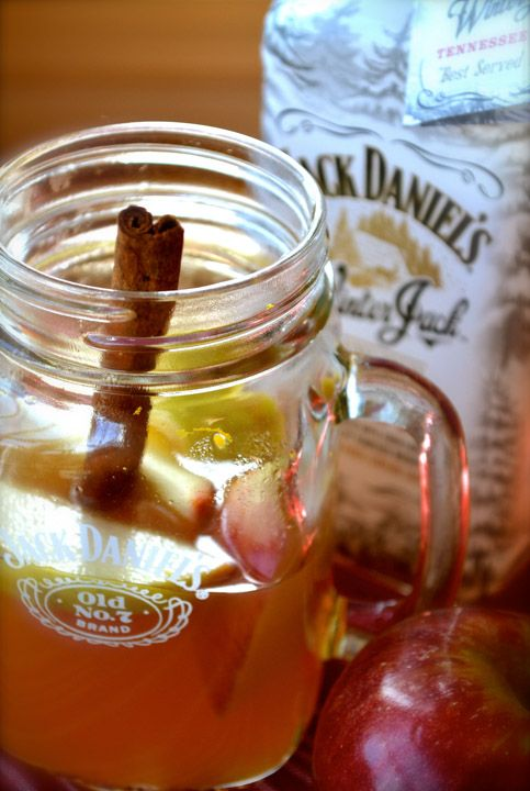I want to try this!  Winter Jack, apple cider, and cinnamon, served warm.  What a way to heat up the snowy holidays.