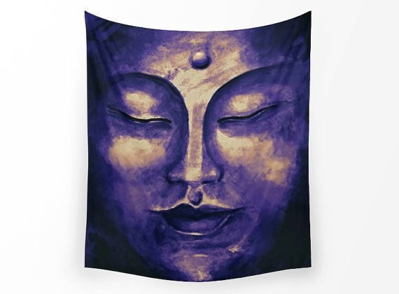 WALL TAPESTRY watercolor Buddha painting wall by UniqueArtHome