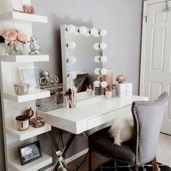 Desk as a station with nice mirror and rings to hang blow dryer.