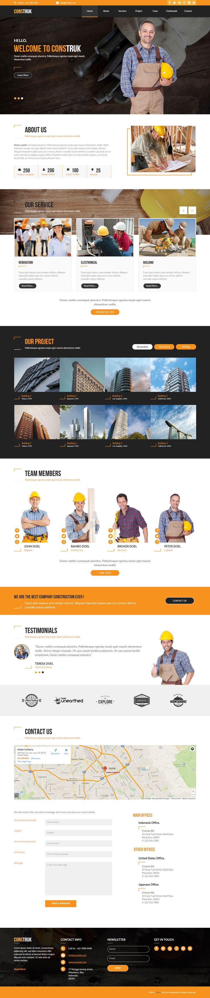 Construk - Construction Business #AdobeMuse #Template. Available on #themeforest by rometheme.net