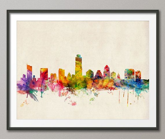 Austin Texas Skyline Art Print  12x16 up to 24x36 inch by artPause, £12.99
