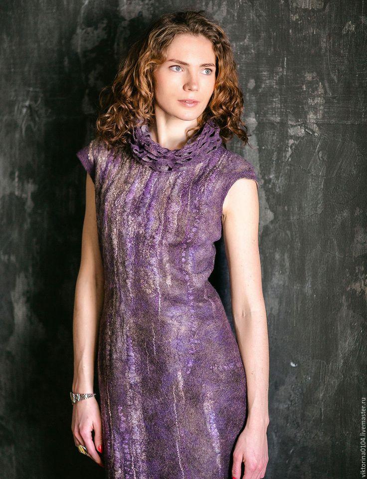 """Купить Платье """" Сиреневый дождь"""""""" - комбинированный, платье валяное, платье-футляр"""