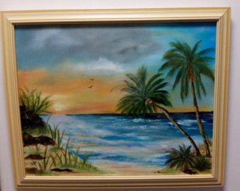 Items similar to SUNSET BEACH Original Acrylic Painting by Jack Schaar on Etsy