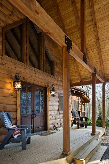 Porches log homes and logs on pinterest for Log cabin porch
