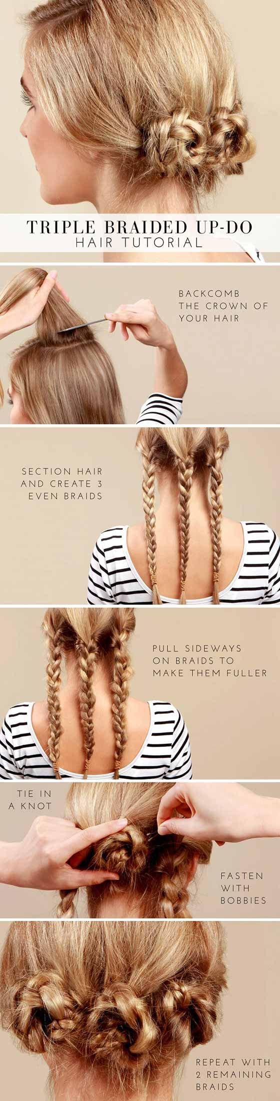 Braided Hairstyles For Long Hair - Triple Braided Bun