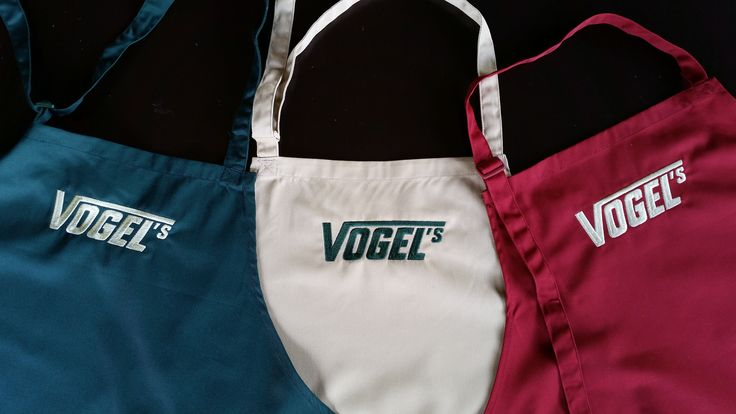 Check out these stunning aprons we had produced for our friends at Vogels!  Their demonstration teams will look sharp at their next food expo.