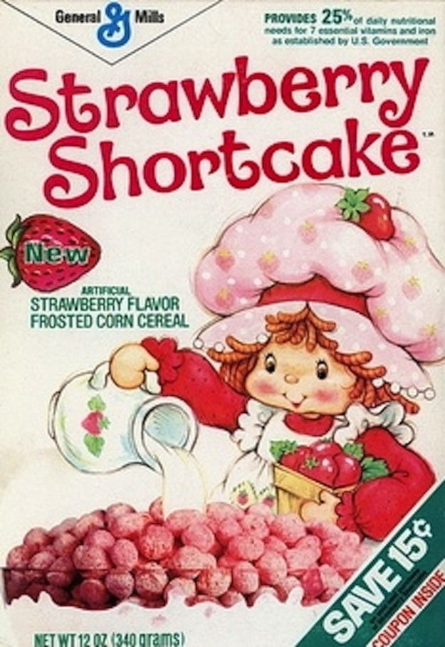 Strawberry Shortcake Cereal: awesome for being pink and leaving strawberry milk in the bowl. (25 Cereals From The '80s You Will Never EatAgain)