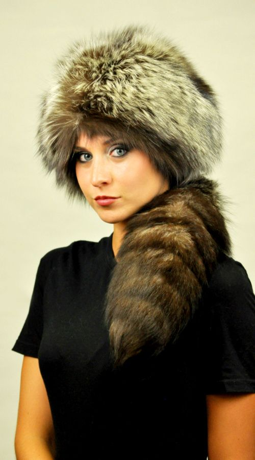 Natural Silver fox fur hat with real silver fox fur tail  www.amifur.co.uk