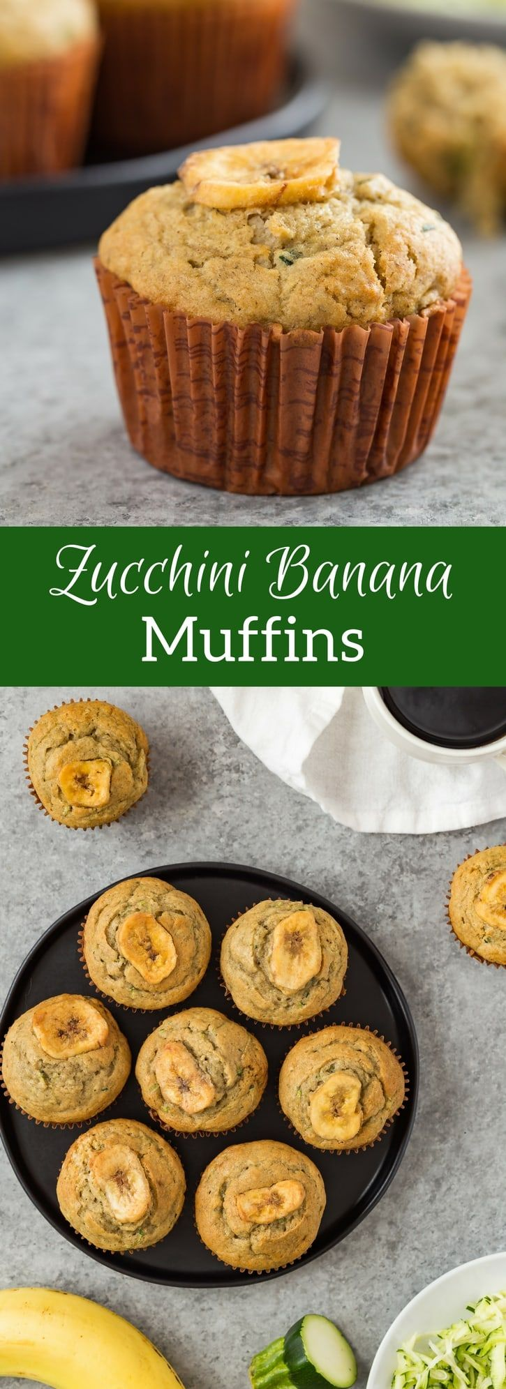 Here's a tender, moist recipe for zucchini banana muffins! Brown sugar, cinnamon, and vanilla add so much flavor. Recipe on bakedbyanintrovert.com via @introvertbaker