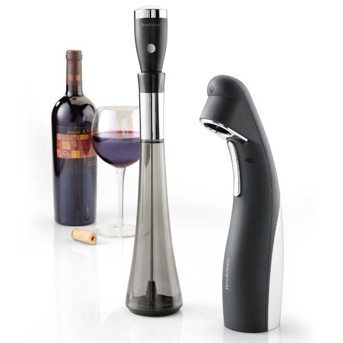 Aerador e Abridor de Vinho Automático Kit 2 Peças Brookstone
