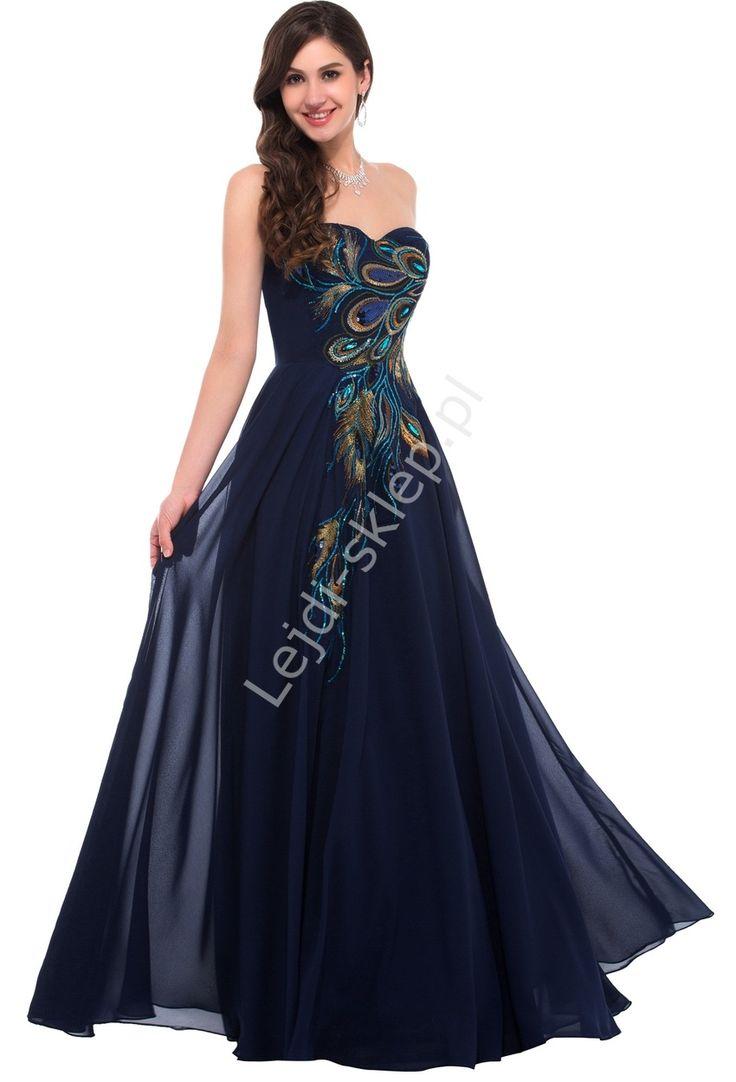 Navy peacock dress. Evening dresses. Granatowa szyfonowa suknia z pawimi piórami | granatowe suknie wieczorowe na studniówkę, sylwestra, karnawał