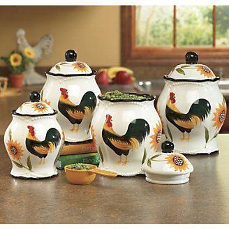 Canisters, Set Of 4 Hand Painted Rooster Sunflower From Through The Country  Door®