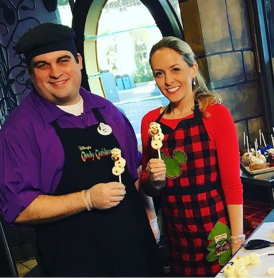 Holiday How-To: Video & Recipe with instructions on how to make the adorable white chocolate and marshmallow Olaf Marshmallow Treats from the Candy Cauldron at Disney Springs