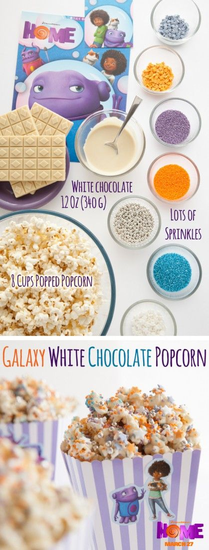 Galaxy White Chocolate Popcorn - so easy and SO yummy! Make fun white chocolate popcorn to eat while watching the movie Home. Sponsored by DreamWorks.